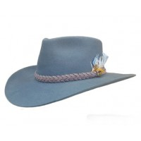 Hat - Statesman Murchison River Fur Felt BLUE/GREY with Feather