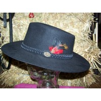 Hat - Statesman Murchison River Fur Felt BLACK with Feather