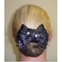 Hair Net Show Bow - Diamonte Flowers Navy