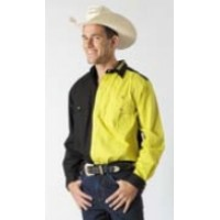 Shirt - Mens Outback 2 Tone BLACK/YELLOW