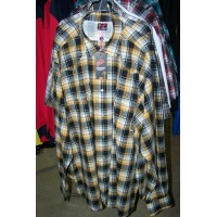 Shirt - Mens Outback Check LS Orange/Black/White