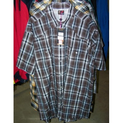 Shirt - Mens Outback Check SS Brown/Black/White
