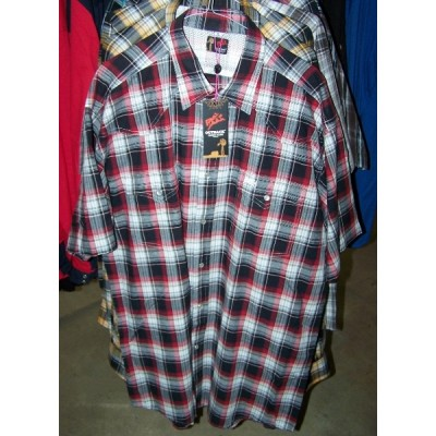 Shirt - Mens Outback Check SS Red/Black/White