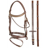 Hanoverian Brass Chain Bridle - PONY